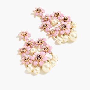 NWT J. Crew Pearl and crystal chandelier earrings